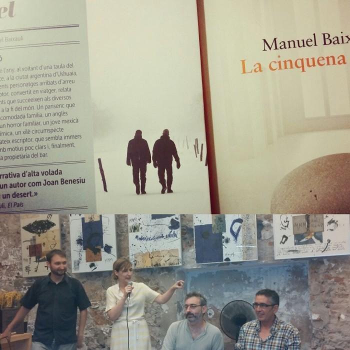 Manuel Baixauli i Joan Benesiu van visitar la llibreria Calders la setmana passada. A la foto són al costat de l'editor de Periscopi Aniol Rafel i la llibretera i escriptora Isabel Sucunza | Fotos: Laura Basagaña.