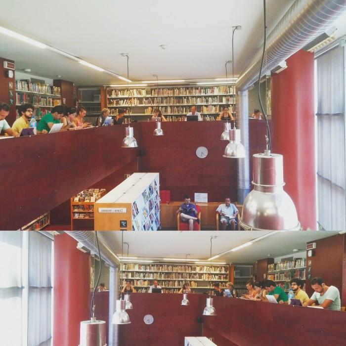 Fotomuntatge a partir d'imatges de la Biblioteca Sofia Barat de l'Eixample Dret barceloní | Foto: Laura Basagaña.
