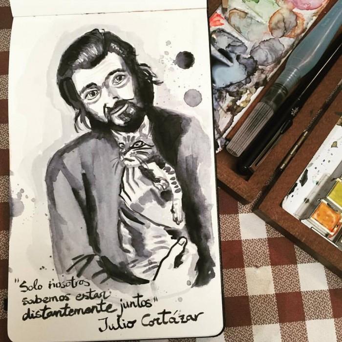 Julio Cortázar per Lídia Gázquez | Foto: Lídia Gázquez.