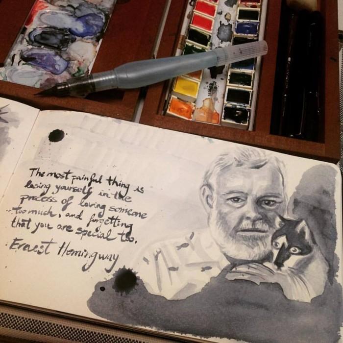 Ernest Hemingway per Lídia Gázquez | Foto: Lídia Gázquez.