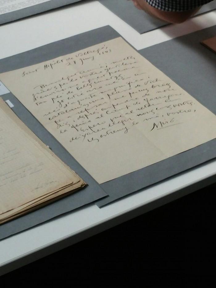 Carta de Joan Miró dirigida a Joan Brossa. Foto: L.B.
