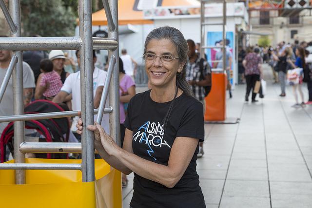 Anna Casassas, el dia que va rebre el Premi Trajectòria 2016, a la Setmana del Llibre en Català | Foto: La Setmana del Llibre en Català 2016.