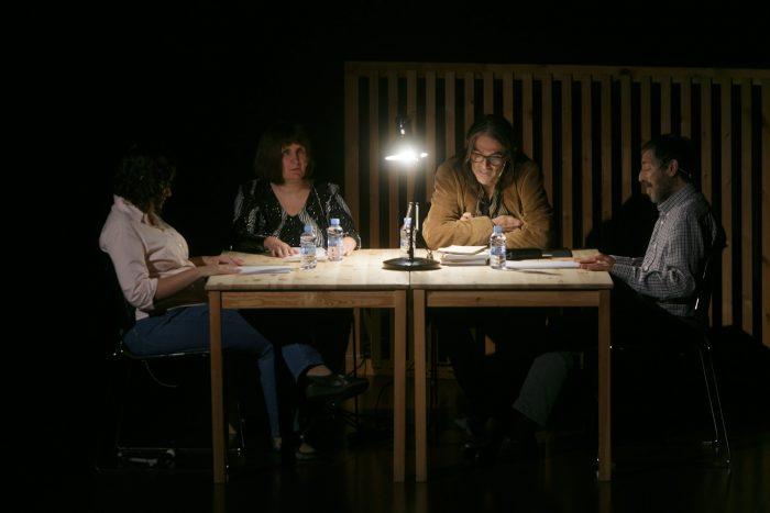 Txell Aymerich, Ana Sosa; Perejaume i Ricard Cordoncillo durant el recital poètic al CCCB| Foto: Miquel Taberna, CCCB.