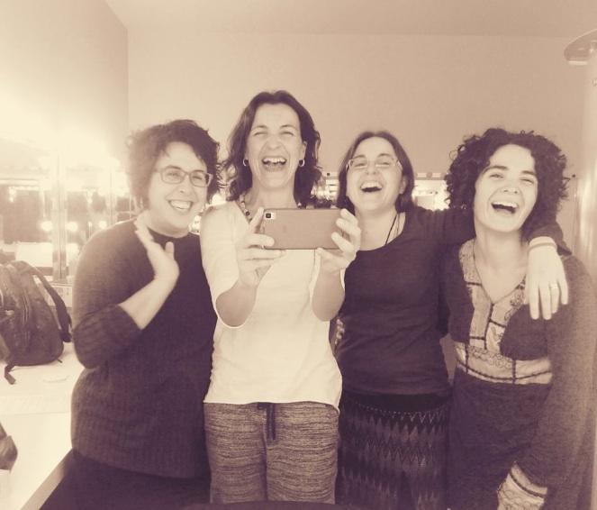Celeste Alías, Meritxell Cucurella-Jorba, Laia Noguera i Sònia Moya abans de començar el recital d'homenatge a Montserrat Abelló | Foto: Cedida.
