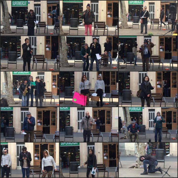 Diferents artistes van participar a l'acció poètica col·lectiva del 18 de desembre a la plaça Osca | Fotos: Júlia Català.