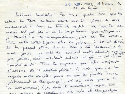Carta que Joan Vinyoli va adreçar a Eudald Puig l'any 1962 | Foto: Carles Morell.
